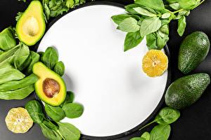 Картинки Авокадо Апельсин Шаблон поздравительной открытки Листья Продукты питания
