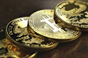 Обои Биткоин Крупным планом Монеты