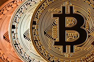 Фотографии Bitcoin Крупным планом Монеты