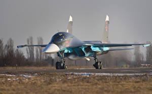 Обои для рабочего стола Бомбардировщик Самолеты Истребители Су-34 Спереди Российские Авиация