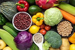Фото Капуста Огурцы Перец овощной Брокколи Овощи Фасоль бобы Чашка