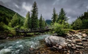 Обои Канада Леса Реки Мост Камни Парки Duffey Lake Provincial Park Природа