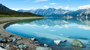 Фото Канада Камни Озеро Горы Yukon (Territory) Природа