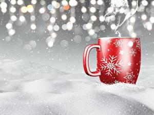 Обои Рождество Кружки Снег