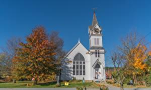Фотография Церковь Америка Осенние Деревьев Vermont, New England, Montpelier город