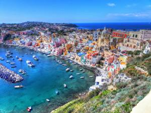 Фотографии Побережье Здания Италия Сверху HDRI Gulf of Naples, Procida Города