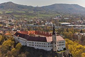 Картинки Чехия Осенние Замки Крепость Сверху Castle Decin, Decin Города