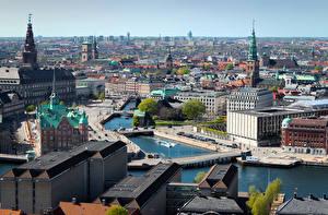 Фотографии Дания Копенгаген Мосты Дома Водный канал Горизонта город