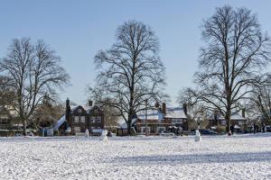 Фотография Англия Дома Зима Поселок Снега Улица Chiltern hills