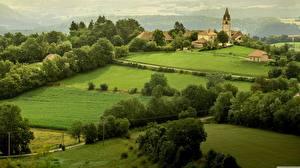 Картинка Леса Поля Франция Поселок Normandy Природа