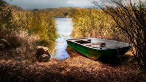 Картинка Франция Осень Берег Лодки Камни Carcès Природа