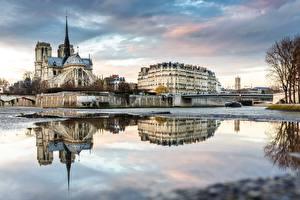 Фотография Франция Собор Река Мост Париже Seine Города