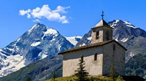 Обои Франция Гора Церковь Альп Chatelard Природа