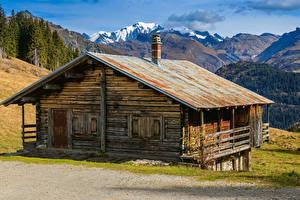 Картинки Франция Гора Здания Альп Старая Areches Beaufort Природа
