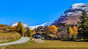 Фотография Франция Горы Здания Осенние Альпы Maurienne Природа