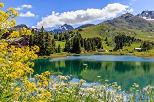 Картинка Франция Гора Озеро Лето Альпы Облака Savoie Природа