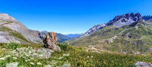 Фото Франция Гора Камень Альпы Трава Valloire Природа