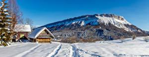 Фото Франция Зима Горы Здания Панорама Снега Альп Auvergne-Rhône-Alpes