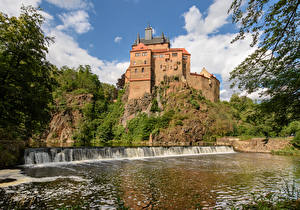 Картинка Германия Замок Водопады Скалы Castle Kriebstein город