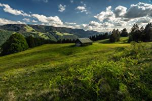 Картинки Германия Луга Бавария Холмы Облака Allgäu