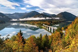 Фотографии Германия Гора Осень Речка Мост Пейзаж Бавария Альпы Природа