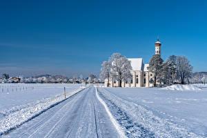 Картинки Германия Зимние Церковь Дороги Бавария Снеге Природа
