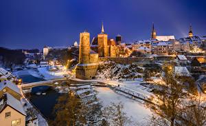 Фото Германия Зимние Вечер Замок Башня Bautzen Города