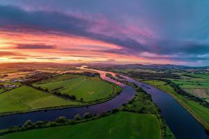 Картинка Ирландия Реки Пейзаж Поля Donegal, river Foyle Природа
