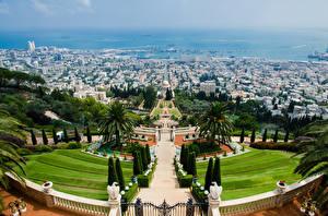 Фото Израиль Парк Скульптура Дизайн Пальмы Лестница Сверху Caesarea, Haifa, Bahai Gardens Города