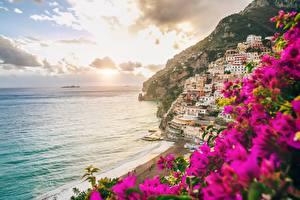 Фотографии Италия Амальфи Берег Рассвет и закат Море Salerno город