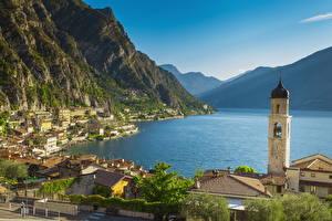 Фото Италия Озеро Берег Горы Церковь Альп Lake Garda Города
