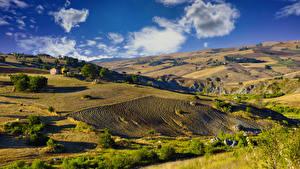 Картинки Италия Пейзаж Холмы Облако Campania