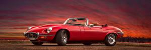 Обои для рабочего стола Jaguar Ретро Красная Металлик E-Type, 1961-75 Автомобили
