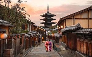 Картинки Япония Киото Пагоды Улице Higashiyarra Города