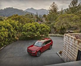 Обои Jeep SUV Красная Металлик 2021 Grand Cherokee L Overland машины