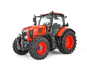 Обои Тракторы Красных Белый фон Kubota M7152, 2018 --