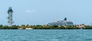 Фотография Маяк Круизный лайнер Море Тропический Belize Природа