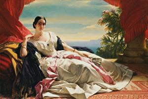 Обои Ожерельем Картина Брюнетки Платья Лежа Руки Веер Franz Xaver Winterhalter, Princess Leonilla молодые женщины