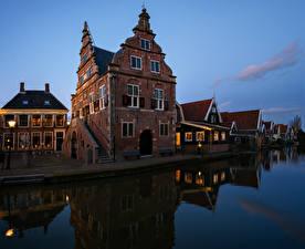 Обои Нидерланды Здания Реки Вечер De Rijp город