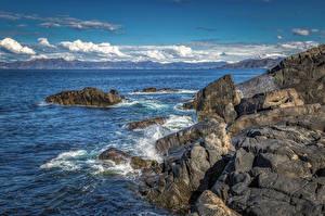 Фото Норвегия Побережье Камни Облако Скала Vågsøy Природа