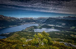 Обои Норвегия Гора Пейзаж Облачно Helgehornet Природа