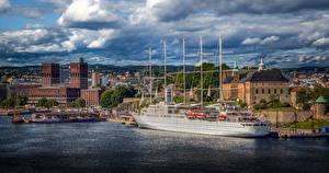 Картинки Норвегия Осло Корабль Дома Облако город