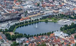 Обои Норвегия Пруд Фонтаны Дома Берген Сверху Hordaland Города