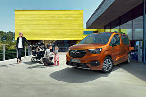 Картинки Opel Фургон Коричневая Металлик Семья Combo-e Life, 2021 Автомобили