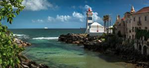 Обои Португалия Берег Маяки Здания Океан Город Cascais