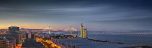Фотографии Португалия Лиссабон Здания Мосты Панорамная Vasco da Gama Bridge