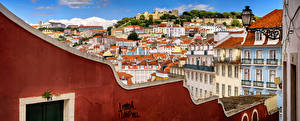 Фото Португалия Лиссабон Здания Крыше Город Castle Hill