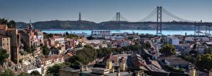 Фотографии Португалия Лиссабон Дома Речка Мост Город
