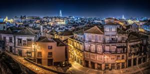 Фотография Португалия Порту Дома Ночью Город Города