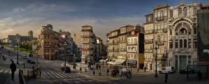 Фотография Португалия Порту Дома Люди Панорама Улица Города